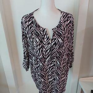 Black, Pink & White Size XL Blouse